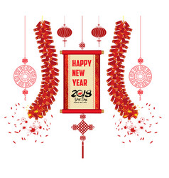 2018 chinese new year greeting card with scroll vector