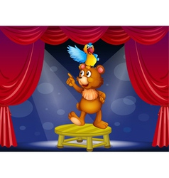 A bear and a parrot in the circus vector image