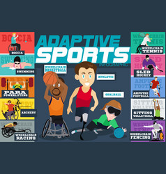 Adaptive sports disabled athletes infographics vector