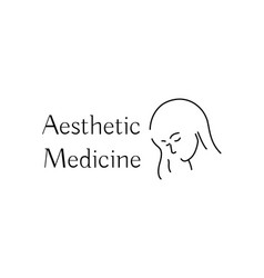 aesthetic medicine icon with young woman vector image