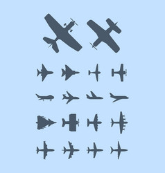 aircraft silhouettes plane for travellers jet vector image