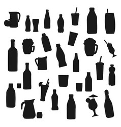 alcohol and drink bottle silhouettes vector image