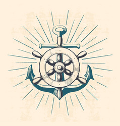 Anchor with navigation wheel vector