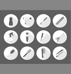 barber shop monochrome icons set vector image