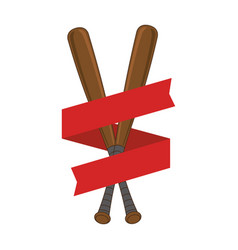 Baseball sport bat emblem icon vector
