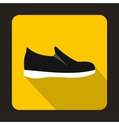 Black shoe with white sole icon flat style vector image