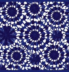 Blue and white abstract floral shibori vector