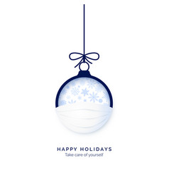 blue paper cut christmas ball in face mask vector image