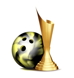 bowling game award bowling ball golden vector image