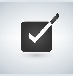 bright check box icon with white and black vector image