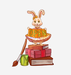 bright cute with cartoon bunny with ribbon or vector image
