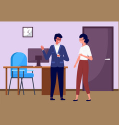 businessmen office workers man and woman cartoon vector image