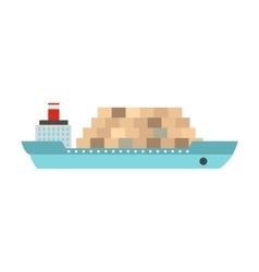 Cargo ship flat vector image