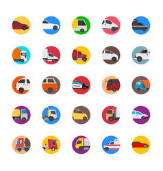 Cars with cargo and shipping trucks flat icons vector