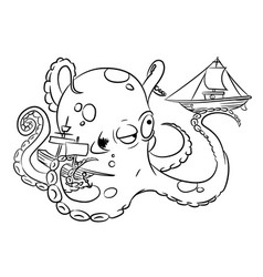 Cartoon image of octopus vector
