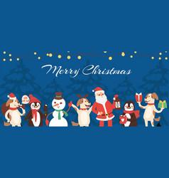 christmas animals santa and snowman cartoon vector image