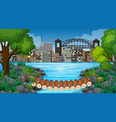 City and jungle background scene vector