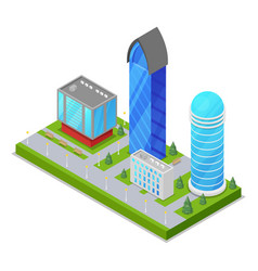 city district with skyscrapers isometric 3d icon vector image