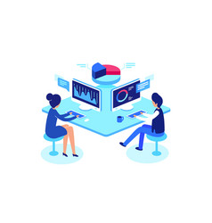 colleagues working in workplace isometric style vector image