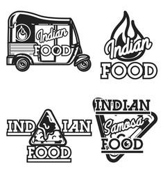 color vintage indian food emblems vector image