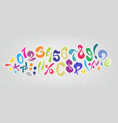 colored cartoon comic font alphabet signs and vector image