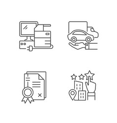 Company image linear icons set vector