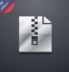 Computer zip folder archive icon symbol 3D style vector