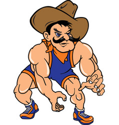 cowboy sports wrestling logo mascot vector image