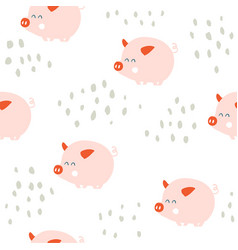 cute pigs seamless pattern vector image