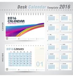 Desk calendar 2016 colorful abstract line design vector image