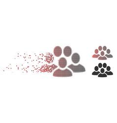 destructed pixel halftone people crowd icon vector image