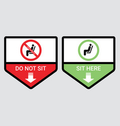 do not sit and sit here sign to prevent covid-19 vector image