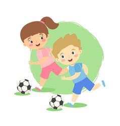 Dribble soccer ball boy and girl vector
