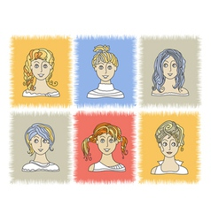 faces GIRLS 2-1 vector image