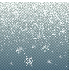 falling snow on blue transparent background vector image