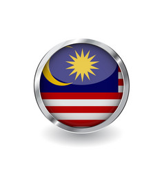 flag of malaysia button with metal frame and vector image