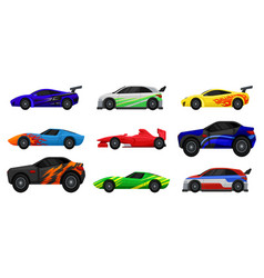 flat set of various racing cars fast vector image