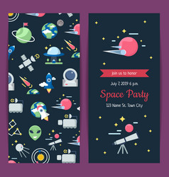 Flat space icons party invitation template vector