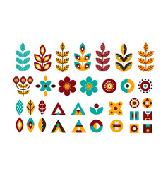 folk decorative plant geometric set vector image