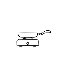 frying pan hand drawn sketch icon vector image