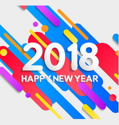 Happy new year 2018 colorful modern elements card vector