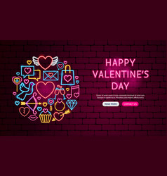 happy valentine day neon banner design vector image