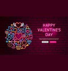 Happy valentine day neon banner design vector