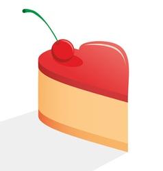 Heart cake vector