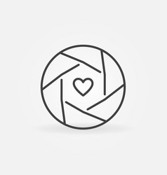heart inside camera shutter outline concept vector image