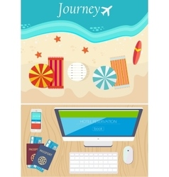 Hotel online booking and travel concept vector