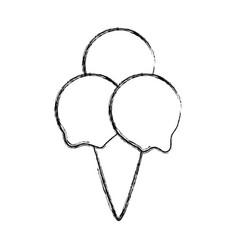Ice cream scoops cone vector