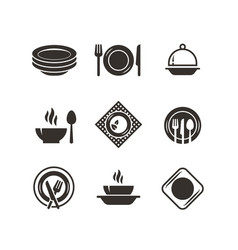 Kitchen plates and cutlery black silhouette icons vector