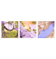 landscape flat icon set vector image