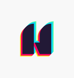 Letter h logo with stereo effect vector